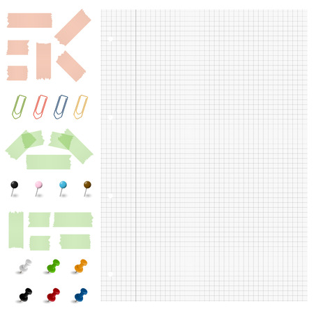 pinboard: checkered paper with collection of different office supplies