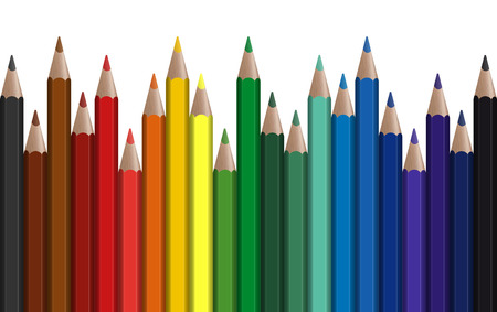 color range: seamless row of different colored pens with white background Illustration