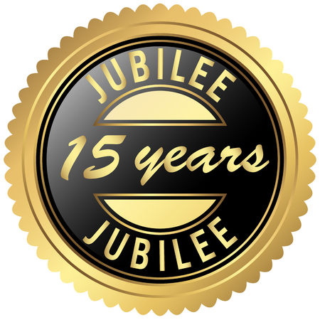 fifteen: round seal colored black and gold for fifteen years jubilee Illustration