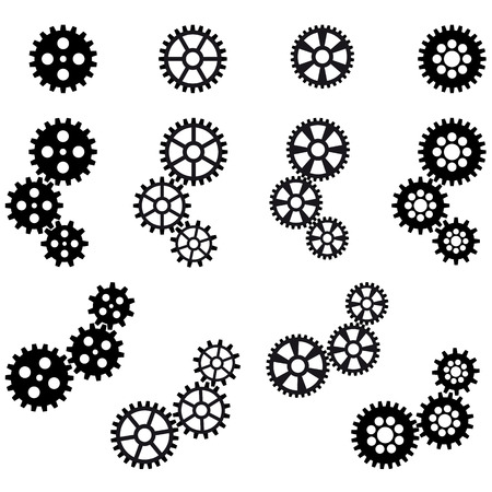 gear wheel: collection of black gears for cooperation or teamwork symbolism Illustration