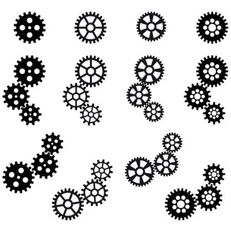 symbolism: collection of black gears for cooperation or teamwork symbolism Illustration