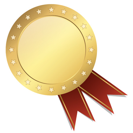 characterize: gold seal of quality template with ribbons