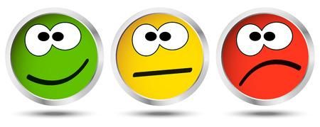 drie knoppen met gelukkige, neutrale en verdrietige emotie gezichten Stock Illustratie