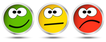 negativity: three buttons with happy, neutral and sad emotion faces