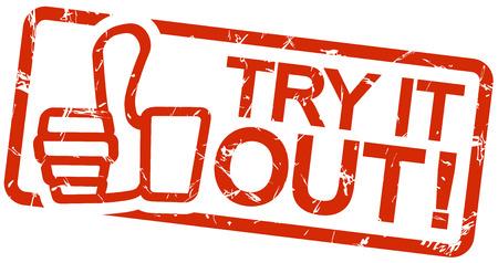 essayer: timbre grunge rouge avec un cadre, pouces vers le haut et le texte essayer!