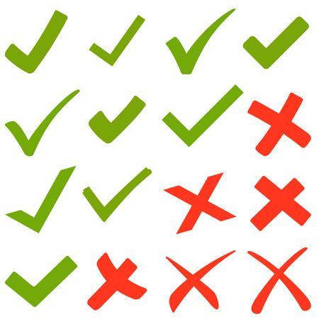 collection of green hooks and red crosses Stock Illustratie