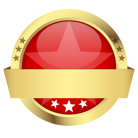 customercare: template of red button with golden frame and banner