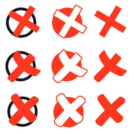 marked boxes: collection of different red voting or election crosses