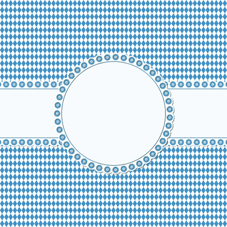 banderole: banner and empty patch on blue checkered Oktoberfest background Illustration