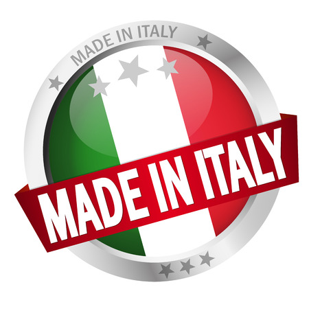 banderole: round button with banner, country flag and text MADE IN ITALY Illustration