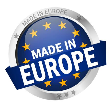 round button with banner, country flag and text MADE IN EUROPE Stock Illustratie