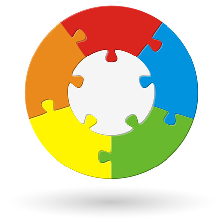 round puzzle with base and five options in different colors