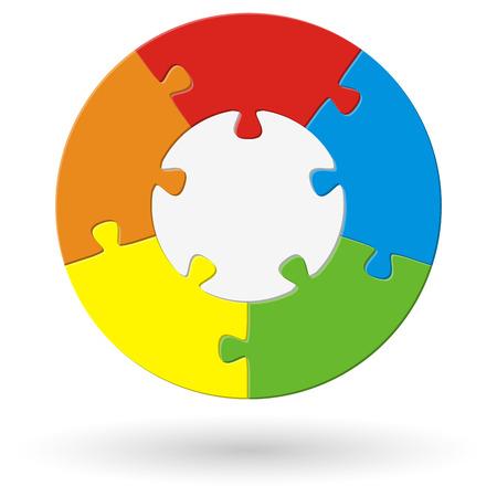 Casse-tête ronde avec base et cinq options de couleurs différentes Banque d'images - 43254247