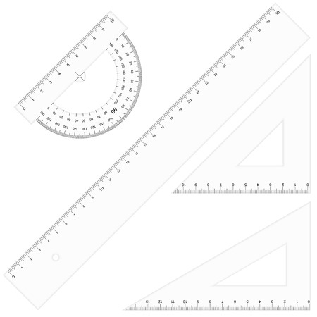 measured: Set of school equipment, Rulers and Triangular Transparent