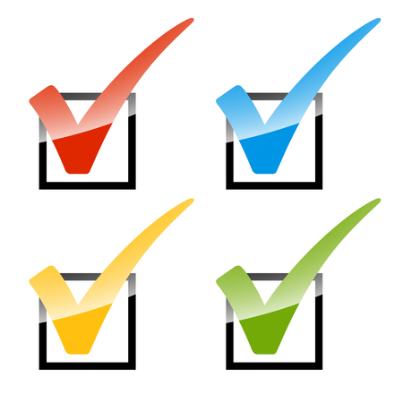 elected: Collection of colored checks in four different colors Illustration