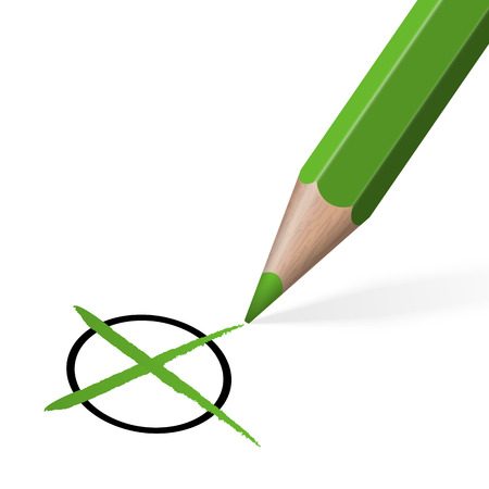 election: Election or cross check with green colored pencil