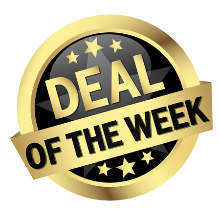 to deal with: golden button with banner and text Deal Of The Week