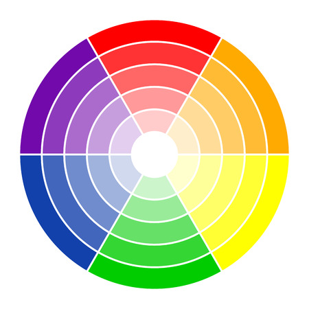 color theory: round color circle with six colors in different gradations