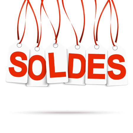 end of the days: Six white hangtags with red letters soldes