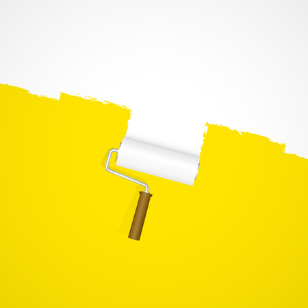 Background with paint roller repainting white on yellow