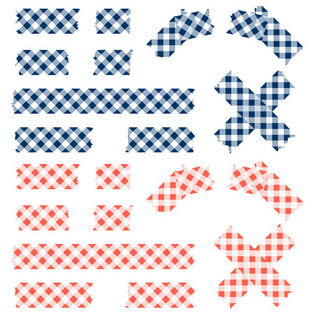 adhesive tape: adhesive tape with checkered pattern colored blue and red