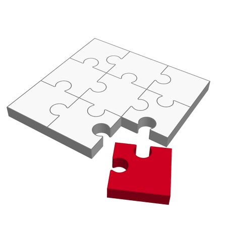 Three dimensional puzzle with one red part who does not fit