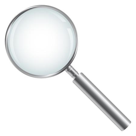 vidro: Prata Lupa isolado no fundo branco
