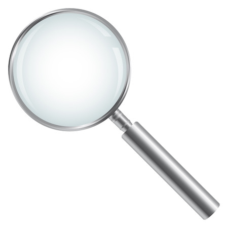 Silver Magnifying Glass Isolated on white background 免版税图像 - 43976662