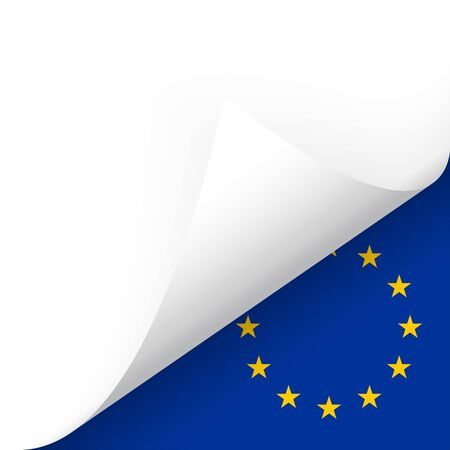 chit: Paper bottom corner turned over with country flag of EU