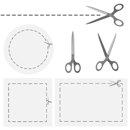lop: Set of metal scissors With Dashed Line and circles