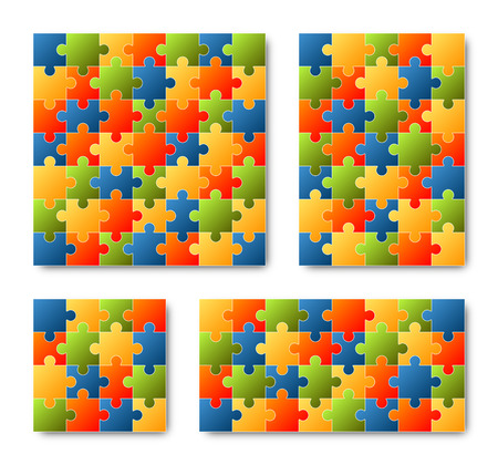 puzzling: Set of four different colored puzzles on white background