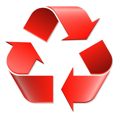 waste recovery: Recycling symbol colored red on white background