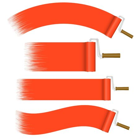 collection red: Collection of paint rollers refurbishing in red color