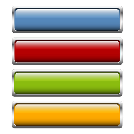 website buttons: Collection of four buttons in four colors Wide