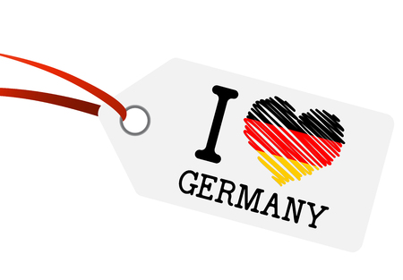 germany: hangtag white with red ribbon and text I Love Germany