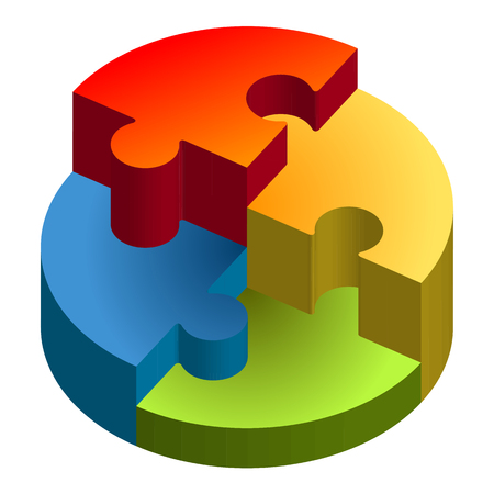 team problems: Three dimensional puzzle showing chart in four colors