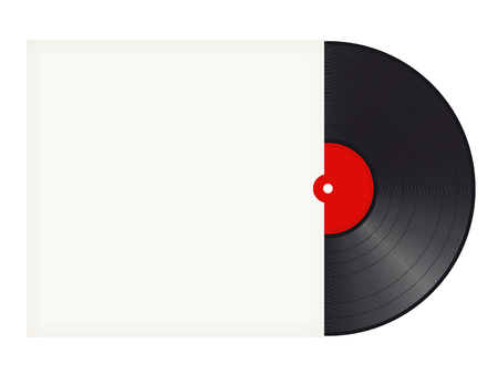empty space for text: black vinyl record with white cover and space for text