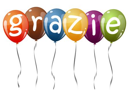 amistad: seis globos que vuelan con el texto coloreado multi GRAZIE