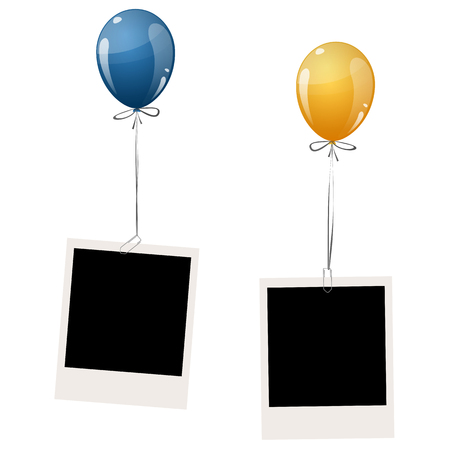 colored balloons: two old empty photos hanging on flying colored balloons Illustration