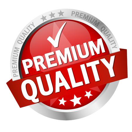 okrągły przycisk z banerem i tekst jakości Premium Quality