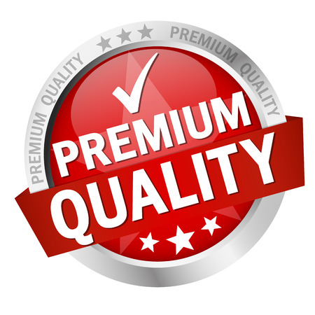 quality seal: round button with banner and text Premium Quality