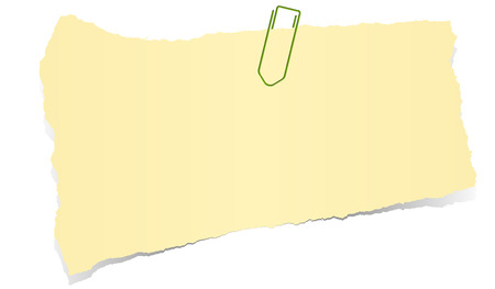 tore: yellow colored scrap of paper with paper clip