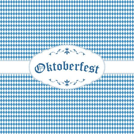 オクトーバーフェストの背景に青白の市松模様、バナー、テキスト オクトーバーフェスト  イラスト・ベクター素材