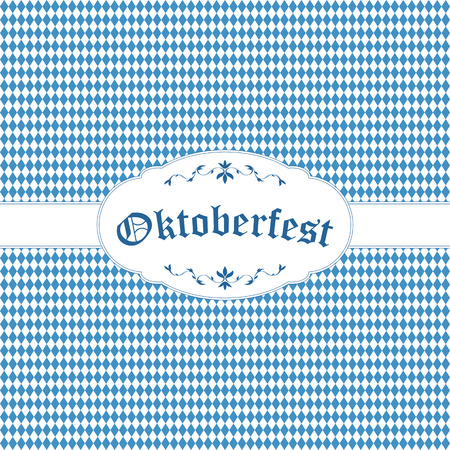 beer garden: Oktoberfest background with blue-white checkered pattern, banner and text Oktoberfest Illustration