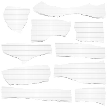 tore: collection of white lined scraps of papers with shadows Illustration