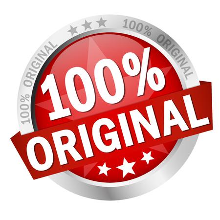gekleurde knop met banner 100% origineel Stock Illustratie