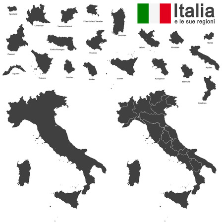 regions: silhouettes of european country Italia and the regions