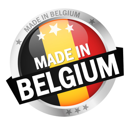 round button with banner, country flag and text MADE IN BELGIUM
