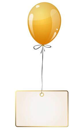 labelling: flying colored balloon with empty white golden hangtag