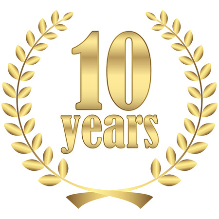 ten years jubilee: laurel wreath for firm jubilee with text 10 years